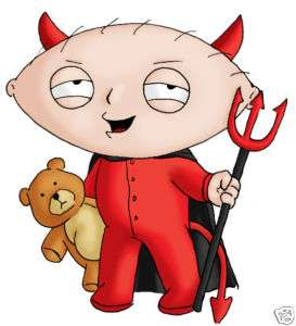 STEWIE GRIFFIN DEVIL FAMILY GUY IRON ON TRANSFER