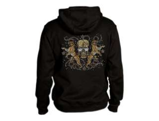 Leopard Skull Hoodie cool tribal abstract gothic chains