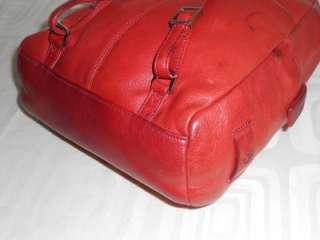 Franklin Covey Red Soft Pebbled Leather Backpack Style Shoulder Bag