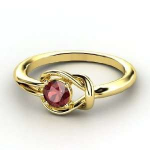 Hercules Knot Ring, Round Red Garnet 18K Yellow Gold Ring