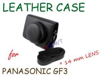 Black Leather Camera Soft Case Bag for Panasonic Lumix DMC GF3 14mm