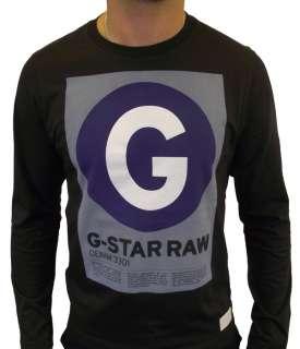 Mens G STAR RAW Station R T Long Sleeve T Shirt Dark Blue