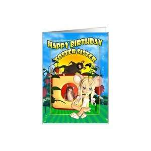 Foster Sister Birthday card cutie pie mouse, with mice in cheese house