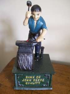CAST IRON MECHANICAL MONEY BANK JOHN DEERE BLACKSMITH