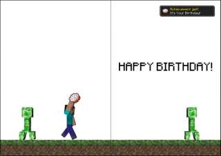 Minecraft Happy Birthday Card Personalised Son Daughter Creeper