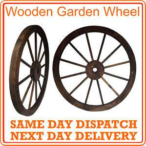 Wooden Burnt wood Garden Cart Wheel Ornament 80cm NEW