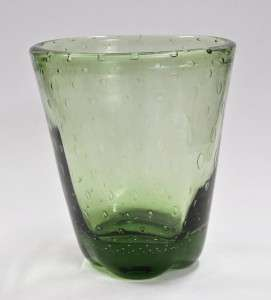 Retro 1960s Italian Art Glass VASE   Green w. Controlled Bubbles HH