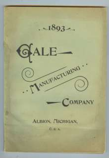 Gale Manufacturing Plows, Cultivators, Hay Rakes 1893