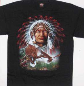 Native American Indian Eagle Wolf S/S Black T Shirt NEW