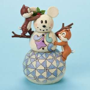 Disney Jim Shore Christmas Snowman Chip & Dale Figurine