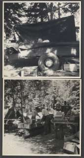 Vintage Photos Boy in Tent Camping Trailer Bed w/ Model A Ford Car