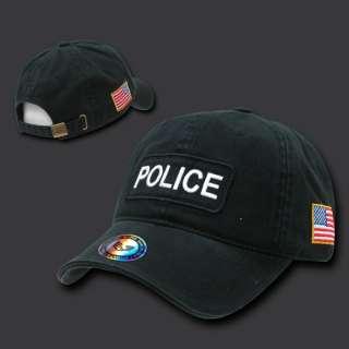 BLACK POLICE OFFICER COPS BASEBALL CAP HAT HATS US FLAG