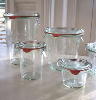 Our industrial chic Weck glassware comes from Germany. This set of