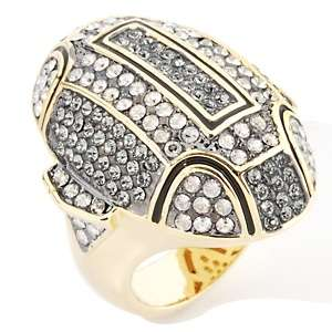 AKKAD La Parisienne Black Diamond Color and Clear Crystal Ring at