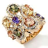 by Adrienne® Multicolor Diamonite CZ and Clear Crystal Ring