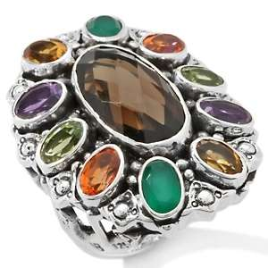 Quartz and Multigemstone Bold Oval Sterling Silver Ring