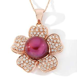 Water Pearl and Diamond 14K Rose Gold Flower Pendant with 18 Chain