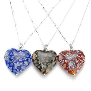Glass Heart Pendant and Sterling Silver 18 Necklace