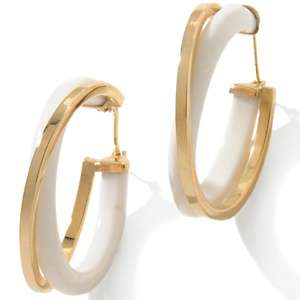 14K Gemstone Double Circle Hoop Earrings
