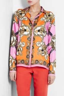 Scarf Print Silk Blouse by D&G