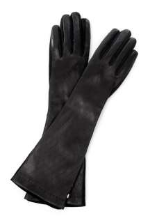 Sportmax  Black Vorra Elbow Length Suede & Leather Gloves by Sportmax