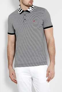 Moschino  Black White Fine Stripe Text Collar Polo Shirt by Moschino