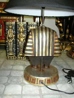 EGYPTIAN STATUE King Tut Table Lamp with Shade