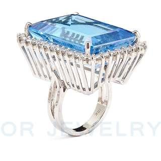 UNIQUE 18K WHITE GOLD DIAMOND, BLUE TOPAZ COCKTAIL RING