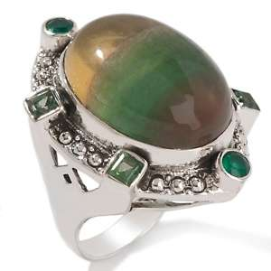 Nicky Butler .9ct Fluorite and Green Topaz Sterling Silver Oval Ring