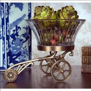NT332   Antique Brass Wagon Stand with Crystal Bowl
