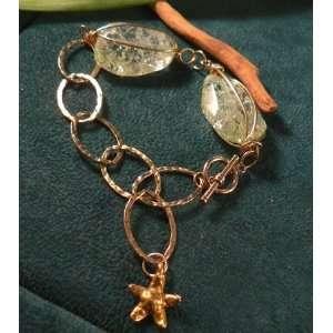 Cracked Crystal & Hammered Gold Ring Bracelet