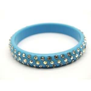 Blue Lucite Swarovski Crystal Bangle Bracelet