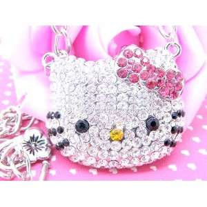 Large Hello Kitty Crystal Necklace with Pink Bow