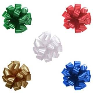 Set of 12 Pom Pom, Pull Bows, 5 Wide Satin in Red, White, Green, Gold
