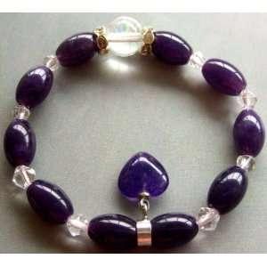 Jade Crystal Quartz Beads Heart Elastic Bracelet