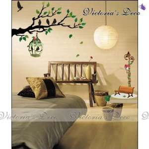 Art Wall Paper Stickers   Branches&Bird Cages ECO 014 Toys & Games