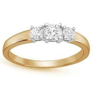 Carat Three Stone Diamond 14k Yellow Gold Engagement Ring Jewelry