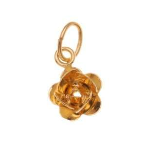 22K Gold Plated 3D Rose Dangle Charms 7mm (6) Arts