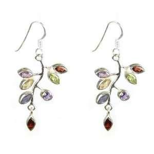 Garnet and Citrine Sterling Silver Vine Leaf Dangle Earrings (2 Drop