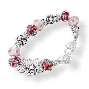 Bead & Pink Crystal Stone Charm Bracelet / Bangle
