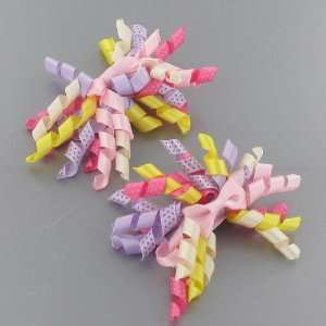 Curling Ribbon Design Bow Shaped Hair Clip (6142 3) Toys & Games