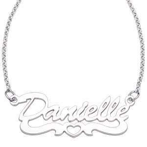 Sterling Silver Open Heart Script Name Necklace   Personalized Jewelry