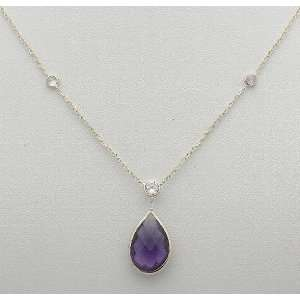 14K White Gold Necklace/Pear Shaped Amethyst & Czs 16