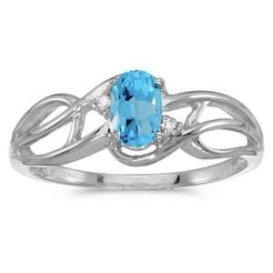 White gold December Birthstone Oval Blue Topaz And Diamond Curve Ring