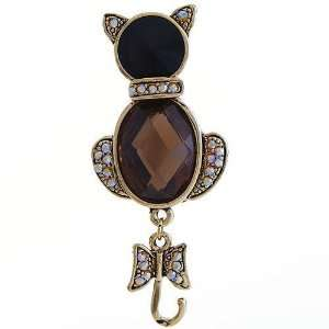 Goldtone and Topaz Crystal Cat Brooch Pin Jewelry