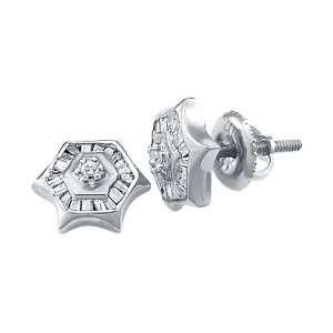 (1/4 Ctw) 10k White Gold Diamond Earring Studs