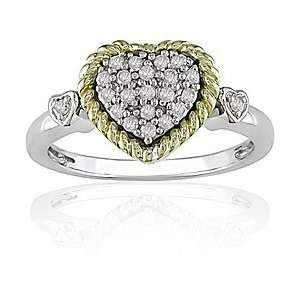 Silver and 10k Gold 1/5ct TDW Diamond Heart Ring Jewelry