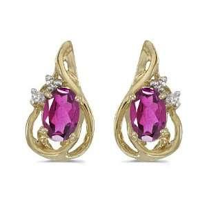 14k Yellow Gold Oval Pink Topaz And Diamond Teardrop Earrings Jewelry