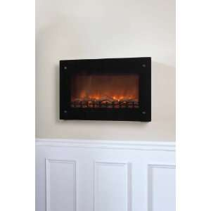 Well Traveled Black Wall Mounted Electric Fireplace Patio