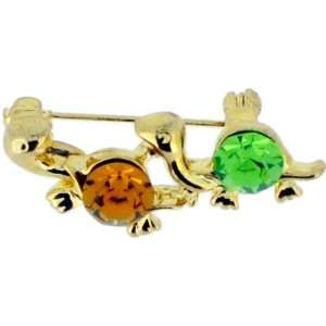 Topaz Turtle Swarovski Crystal Animal Brooch Pin Jewelry